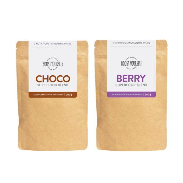 Boost Yourself smuutikausi kombo sisaldab choco ja berry supertoidusegusid