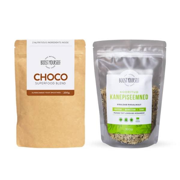 Boost Yourself choco supertoidusegu ja kooritud kanepiseemned