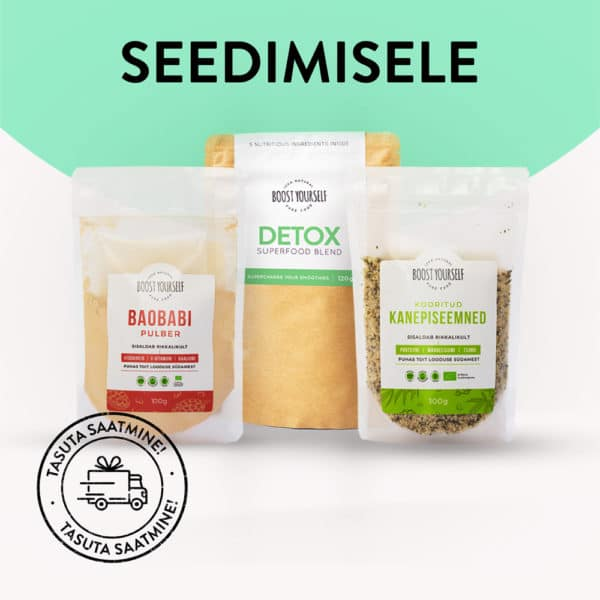Boost Yourself seedimise kombopakk Detox Greens Baobab