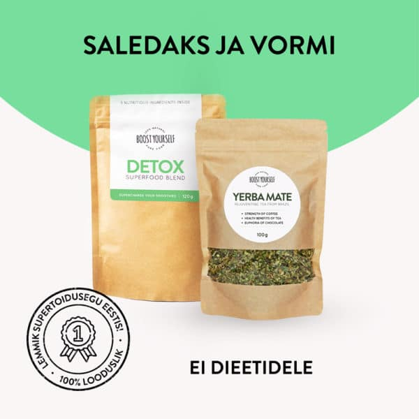 Boost Yourself Yerba Mate tee ja Detox supertoidusegu