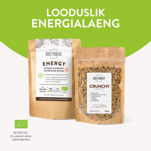Boost Yourself Energy Double Espresso Crunchy supertoidusegu kombo looduslik energia