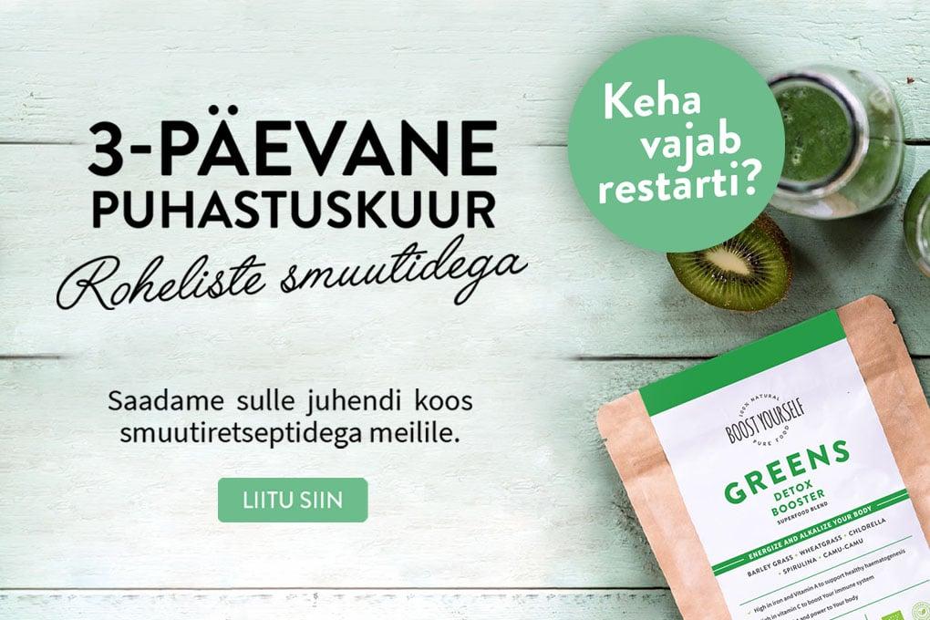Boost Yourself Detox puhastuskuur roheliste smuutidega